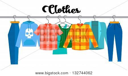 Casual Clothes Hipster Shirt Collection Show Room Shop Flat Vector Illustration
