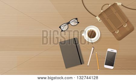 Workplace Desk Cell Smart Phone Notebook Suitcase Coffee Top Angle View Copy Space Flat Vector Illustration