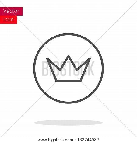 Crown Thin Line Icon. Crown Icon in circle. Vector Crown Icon. Round Crown Icon. Crown Icon On white background. Crown Icon Illustration.
