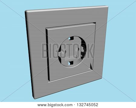 Vector illustration of an electrical outlet. 3D.