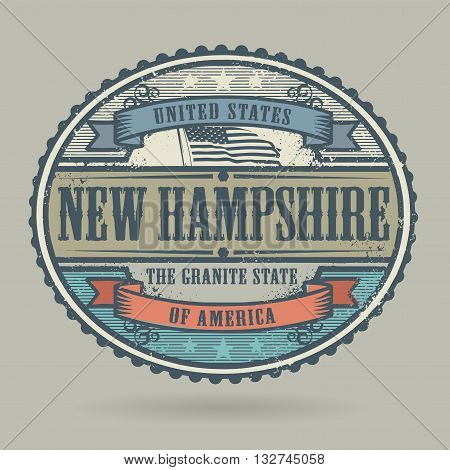 Vintage stamp or label with the text United States of America, New Hampshire, vector illustration