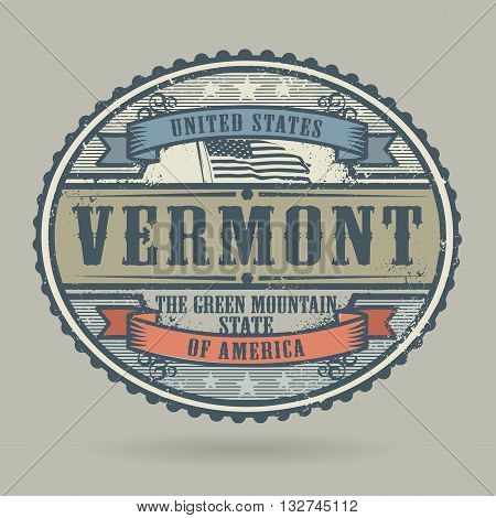Vintage stamp or label with the text United States of America, Vermont, vector illustration