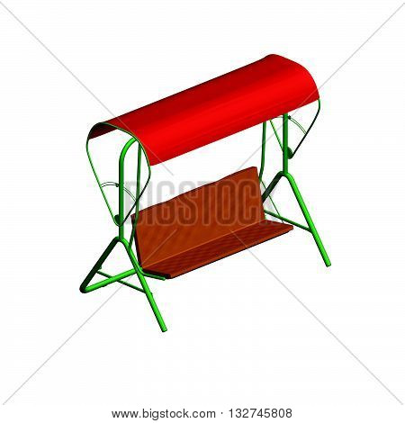 Vector illustration of a summer shop with an awning. Isometric view. Isolated. Polygon.