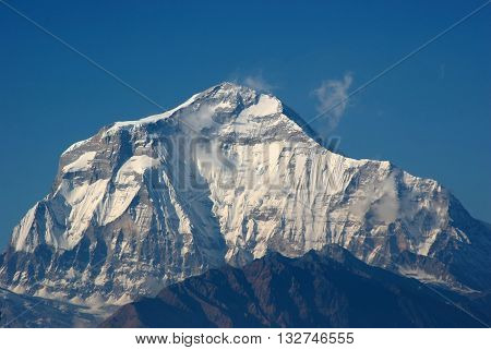 Annapurna South Peak in a sunny winter day Nepal