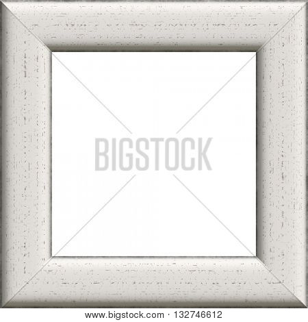Old decorative wooden whiteframe with cracks.