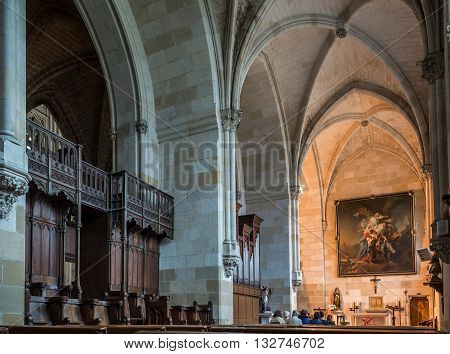 Bayonne France - May 21 2016: The chapel of Saint-Leon in the south aisle of Cathedral of Sainte-Marie de Bayonne Cathedral. Bayonne Aquitaine. France