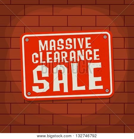 Sign with text Massive Clearance Sale, vector illustration