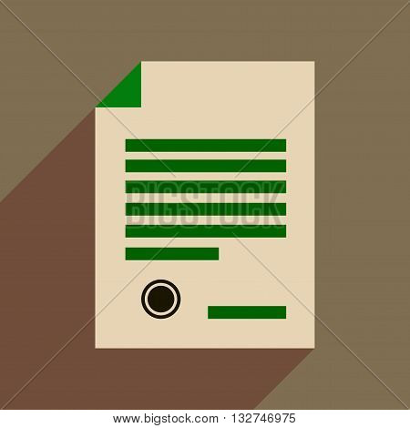 Flat web icon with long  shadow judgment document