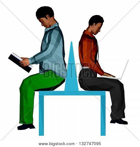 Vector illustration of two men sitting on the bench. One is reading a book and the other works with a laptop. 3D.