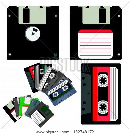 Vector illustration of vintage audio tapes and diskettes.