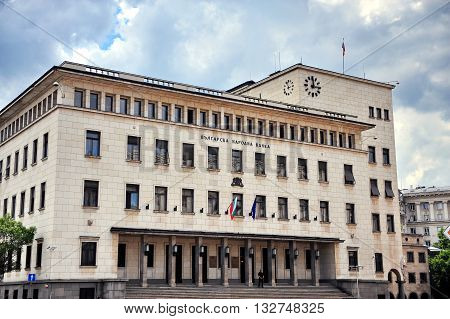 SOFIA BULGARIA - MAY 5: View of the National Bank of Bulgaria in Sofia on May 5 2016. Sofia is the largest city and capital of Bulgaria.