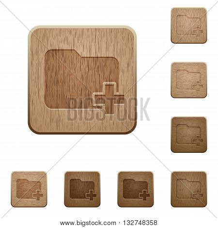 Set of carved wooden add new folder buttons in 8 variations.