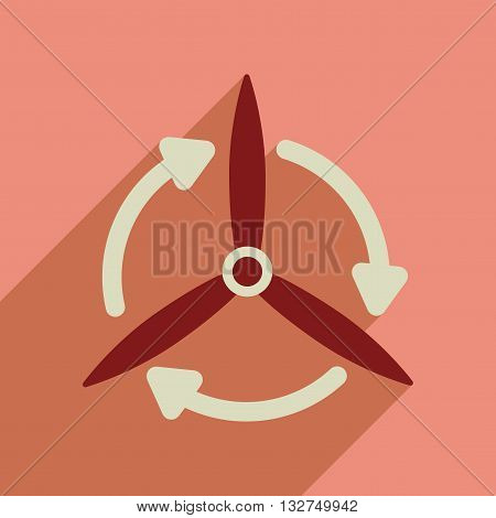 Flat web icon with long  shadow windmill