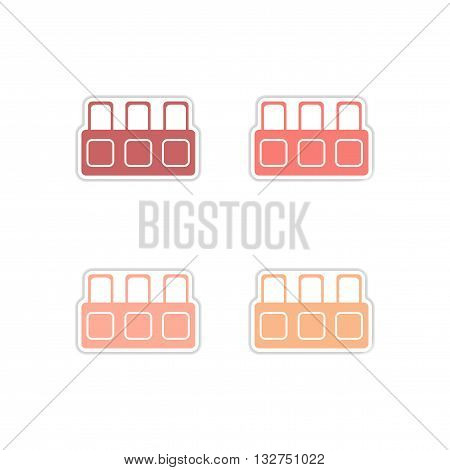 Set of paper stickers on white  background tribune judge