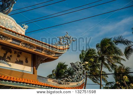Beautiful Temple. Oid Church, Under Sunny Sky.mui Ne, Vietnam.