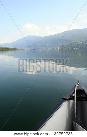Canoe On Aiguebelette Lake In France