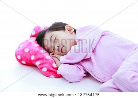 Healthy Children Concept. Asian Girl Sleeping Peacefully. On White Background.