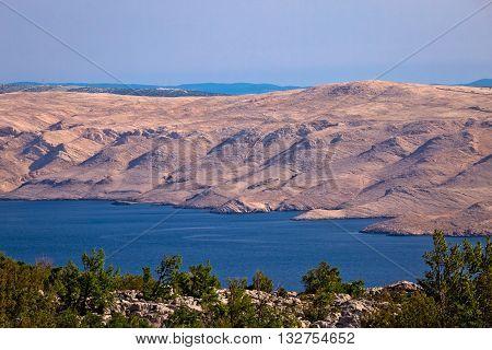 Stone desert of Pag island view Dalmatia Croatia