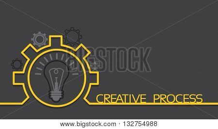 Light Bulb New Idea Brainstorming Concept Cogwheel Banner With Copy Space Flat Vector Illustration