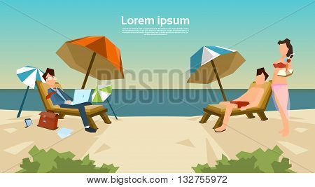 Businessman Freelance Remote Working Place On Sunbed Business Man Suit Using Laptop Beach Summer Vacation Couple Woman Cocktail Tropical Island Flat Vector Illustration