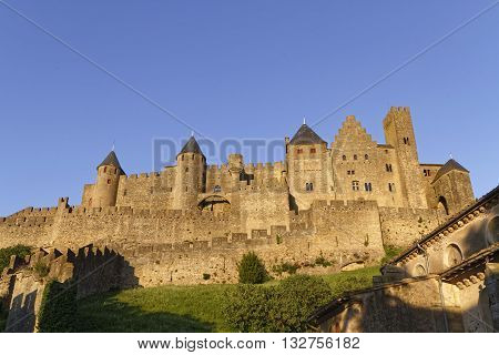CARCASSONNE FRANCE May 29 2016 : Founded during the Gallo-Roman period the citadel derives its reputation from its 2 miles long double surrounding walls interspersed by 52 towers.