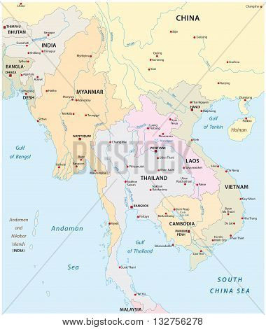 vector map of the states in south east asia