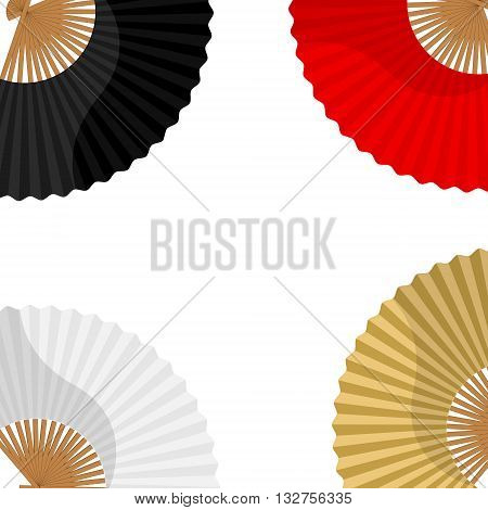 Vector illustration japanese folding fan background card with white golden black and red hand fan