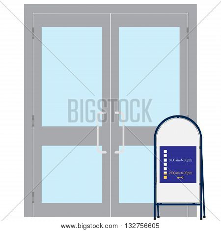 Vector illustration entrance door for office home store mall shop supermarket isolated on white in flat style. Shop Front.