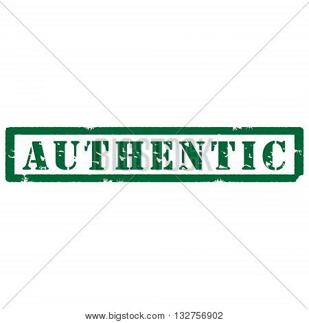 Vector illustration green grunge rubber stamp with text authentic isolated on white background