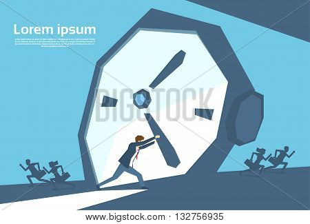 Business Man Push Clock Arrow Businessman Time Concept Flat Vector Illustration