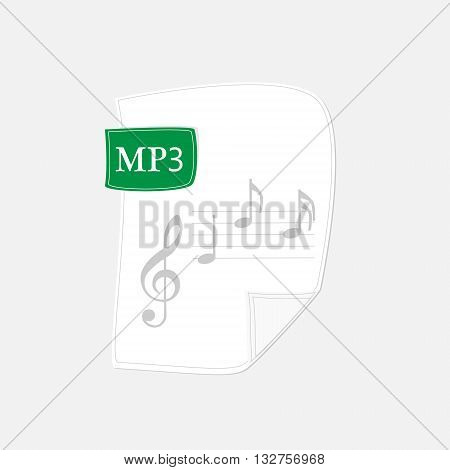 Vector illustration mp3 icon. File audio format symbol.