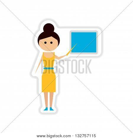 paper sticker on white  background woman teacher