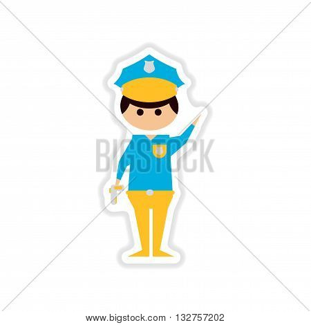 paper sticker on white  background male police officer