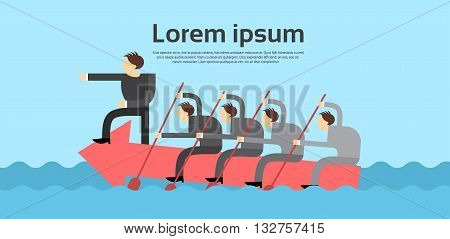 Business People Team Leader Swim On Arrow Boss Teamwork Concept Flat Vector Illustration