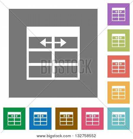 Adjust table column width flat icon set on color square background.