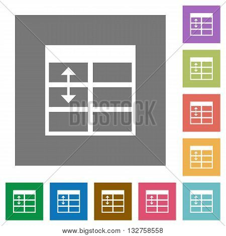 Adjust table row height flat icon set on color square background.