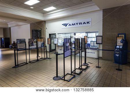 DALLAS USA - APR 7: Amtrak counter in the central station of Dallas. April 7 2016 in Dallas Texas USA
