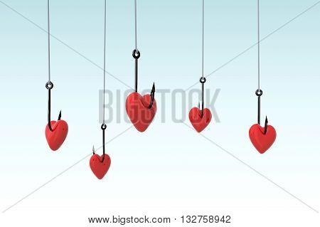 Many Fishing Hook And Hearts