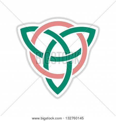 paper sticker on white  background celtic symbol