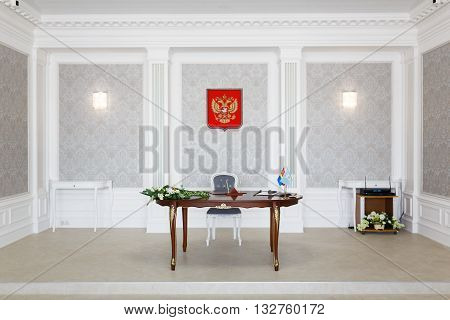 Kaliningrad Russia - May 20 2016: New interior of refurbished room for marriage registration in the central Civil Registry Office