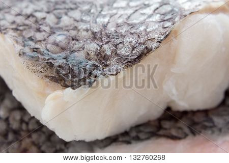 Hake Fillet With Skin, Macro, As Background