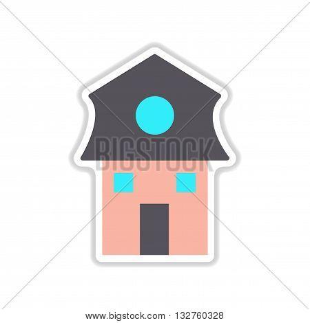 paper sticker on white  background Dutch house