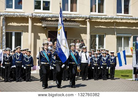 Kaliningrad Russia - May 25 2016: The military ceremony at the school Sea Cadet Corps of Andrew Pervozvanniy