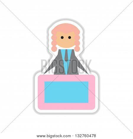 paper sticker on white  background tribune judge