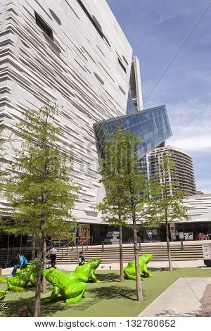 DALLAS USA - APR 7: Exteiror of the Perot Museum of Nature and Science in Dallas Downtown. April 7 2016 in Dallas Texas United States