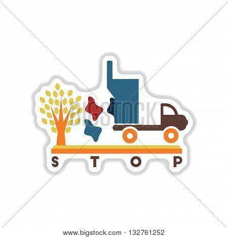 paper sticker on white  background garbage truck tree
