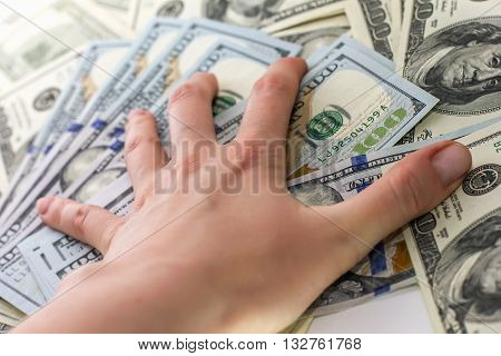 Hand Holds The Hundred-dollar Bills Hand With Money, 100 Dollar Bills, Receive Money In The Bank