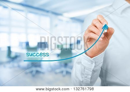 Manager (businessman coach leadership) plan to succeed.