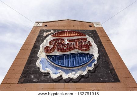 DALLAS USA - APR 7: Old Pepsi Cola commercial neon sign in the city of Dallas. April 7 2016 in Dallas Texas United States