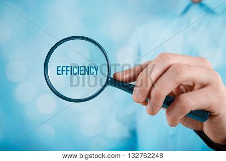 Focused on efficiency concept. Manager (businessman coach leadership) is focused on efficiency in business.